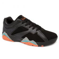 PU Spliced Suede Lace-Up Athletic Shoes - BLACK