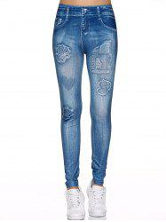 Spliced Faux Jeans Fit Leggings - DENIM BLUE