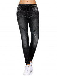 Stretchy Fit Leggings de motif de coeur -