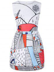Sleeveless Print Fitted Dress - RED L