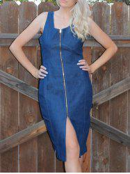 Zip Up Bodycon Denim Bandage Night Out Dress -