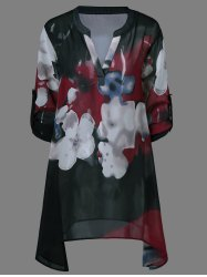 Ink Painting Floral Blouse - BLACK XL