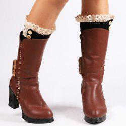 Lace Edge Buttons Rhombus Knitted Boot Cuffs - BLACK