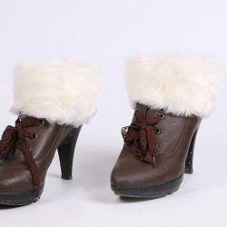 Thicken Faux Fur Edge Knitted Boot Cuffs - WHITE