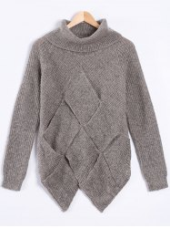 Turtle Neck Long Sleeve High Low Pullover Sweater