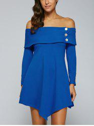 Off The Shoulder Long Sleeve Asymmetric Bardot Mini Dress