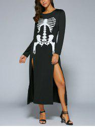 Halloween Long Sleeve Skeleton Print High Slit  Maxi Dress - BLACK XL