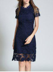 Ruff Neck Sheath Lace Semi Formal Dress
