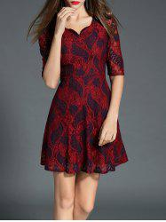 Sweetheart manches mi-Neck Lace A Dress Ligne -