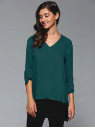 V-Neck Asymmetrical Plain Blouse -