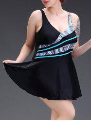 Patchwork Open Back Swimsuit with Skirt - BLACK 5XL
