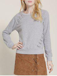 Long Sleeve Lace-Up Sweatshirt -