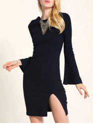 Bell Sleeve Lace Up Fit Slit Jumper Dress - BLACK