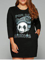 Plus Size Panda Print Shift Dress -