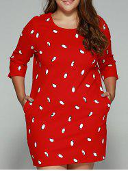 Plus Size Penguin Print Vertical Pocket Dress