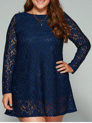 Plus Size Long Sleeve Lace Dress