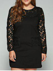 Plus Size Lace Pockets Long Sleeve Dress -