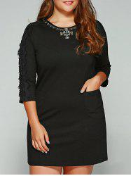 Plus Size Lace Trim Rhinestone Embellished Dress - BLACK 5XL