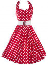 Halter Polka Dot Print A Line Dress