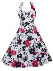 Halter Floral Print Shirred Dress