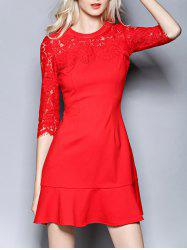 Lace Spliced Flounced Openwork Dress -
