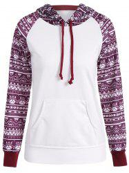 Printed Big Pocket Pullover Hoodie - WHITE S