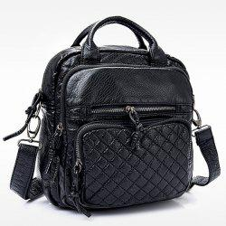 Stitching Plaid Pattern Zippers Crossbody Bag