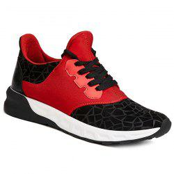 Lace-Up Geometric Print Flock Athletic Shoes - RED WITH BLACK