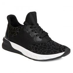 Lace-Up Geometric Print Flock Athletic Shoes - BLACK