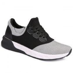 Mesh Tie Up Athletic Shoes - WHITE