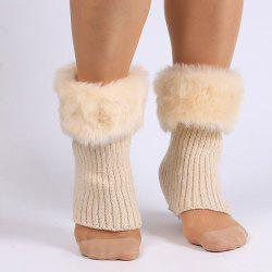 Thicken Faux Fur Edge Knitted Boot Cuffs - OFF-WHITE