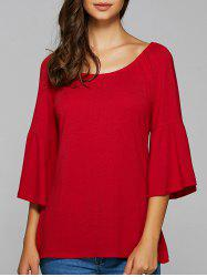 Flare Sleeve High Low Blouse