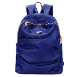Nylon Double Zipper Metal Backpack - BLUE