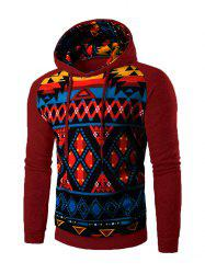 Cartoon Geometric Printed Hoodie - WINE RED
