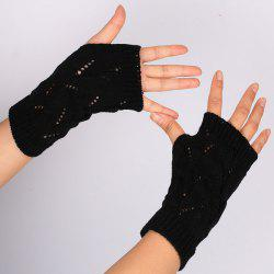 Branch Pattern Crochet Hand Fingerless Gloves - BLACK
