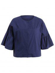 Plus Size Open Coat - PURPLISH BLUE