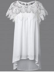 Lace Panel Chiffon Tunic Summer Dress - WHITE