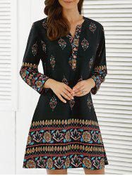 Floral African Casual Long Sleeve A Line Short Dress - BLACK