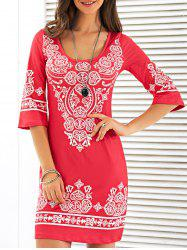 Scoop Neck Mini Robe imprimée - Rouge