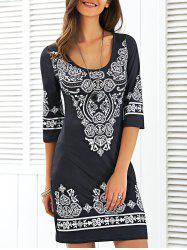 Scoop Neck Mini Printed Dress - BLACK