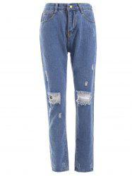Fresh Distressed Ripped Loose-Fitted Pencil Jeans - DENIM BLUE
