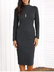 Long Sleeve Sheath Knee Length Dress - DEEP GRAY