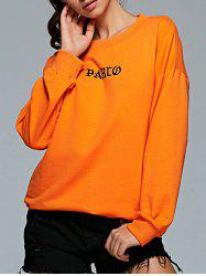 Active Round Neck Long Sleeve Letter Print Sweatshirt - ORANGE