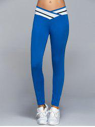 High Waisted Panel Yoga Leggings - BLUE