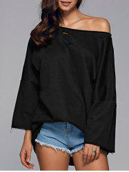 Long Sleeve Sloping Shoulder Ripped Sweatshirt