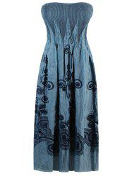 Floral Embroidered Smocked Strapless Dress - GREY BLUE
