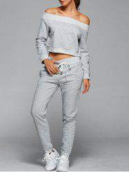 Off The Shoulder Sweatshirt With Pants Gym Outfits - LIGHT GRAY