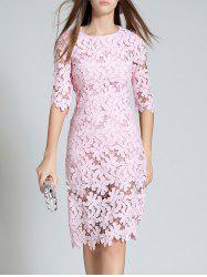 Round Neck 3/4 Sleeve Full Lace Bodycon Dress -