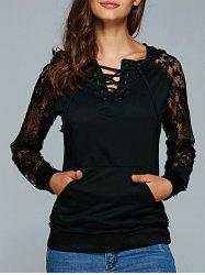 Lace Up Long Sleeve Lace Spliced Hoodie - BLACK