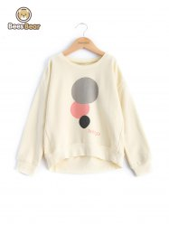 Stylish Long Sleeve Circle Print Sweatshirt -